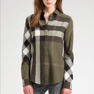 Burberry Brit Long Sleeve Button Plaid Shirt